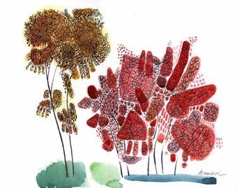 Print of WATERCOLOR LANDSCAPE, watercolor print landscape, living room art print, modern art print, 11x14 print, print art watercolor giclee