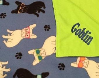 Personalized  dog blanket, embroidered dog blanket