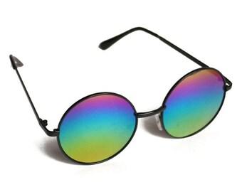 Vintage Circle Lens John Lennon Style Sunglasses - Rainbow Lens Multi Color Gradient Large Round Metal Frame Music Festival Retro Sunnies