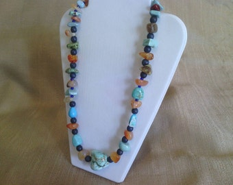 142 Magnesite Turquoise Nuggets and Amber Colored Agate Stones with Lapis Blue Imitation Turquoise Beads Beaded Necklace