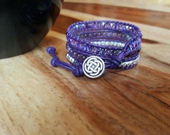 Amethyst Wrap Bracelet-Leather Bracelet-Crystal Jewellery-Purple and Silver-Aura Protection-Celtic-Meditation Stone-Third Eye Chakra-Gems