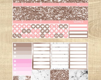 Erin Condren Vertical Monthly Kit - Rose Gold & Marble - Any Month!
