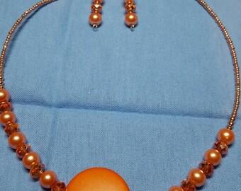 Peach jewelry set