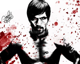 Manny Pacquiao blood art pre signed photo print poster - 12x8 inches (30cm x 20cm) - Superb quality