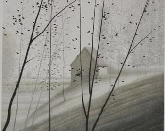 """Robert Kipniss, artist's proof of an original lithograph, """"Shadowed Hillside"""" 1982"""