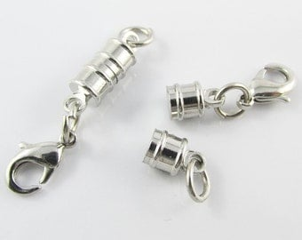 5 Sets Column Magnetic Clasp with Parrot Clasp / Jumpring end Silver Tone 17x6mm (MC004)