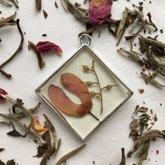 maple and cottonwood seeds large square necklace