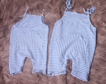 Baby Boy Romper,Photographers Prop,Newborn,Carson Blue & White striped,Up Cycled,Handmade by Me in The UK,RTS,Great for newborn Photo Shoot.