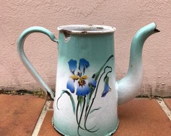 RARE Vintage French Enamelware no lid blue flowers Enamel Coffee Pot 0503201716