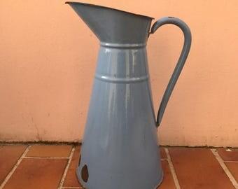 Vintage French Enamel pitcher jug water enameled blue 1503201731