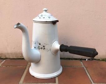 RARE Vintage French Enamelware Enamel chocolate Pot