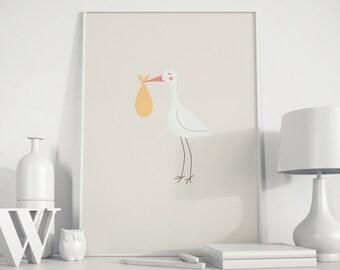 Stork Art Print, Printable Stork, Nursery Wall Art, Digital Stork Art, Stork Painting, Nursery Stork Print, Stork Artwork, Nursery Decor