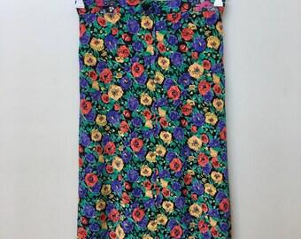 1980's Australian Vintage Bright Floral Midi Skirt