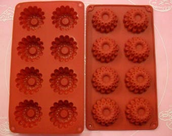 8 soft silicone mold cookies / flower 29 X 16 CM