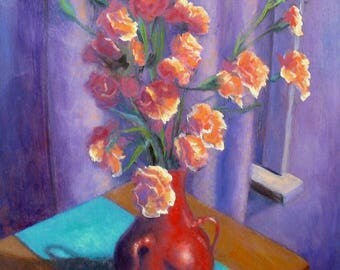 oil painting // flower still life dianthus // artistic work of art // hand-painted impressionism art