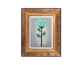 Grey Flower Print, Original Grey Flower Painting, Abstract Grey Flower, Blue and Grey Flower Artwork, Colourful Flower Print, Floral Decor