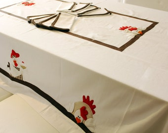 Cook duck with 8 matching napkins tablecloth