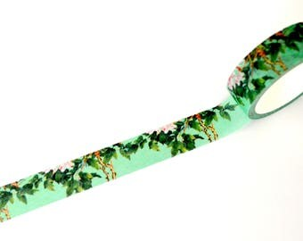 Deep Mint Floral and Leaves Washi tape 15mm