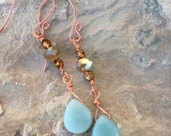 Aquamarine teardrop and blue/copper glass beaded dangle earrings.