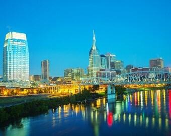 Nashville at night, Nashville Canvas, Nashville skyline, Nashville  wall canvas, 3 panel or single panel Nashville wall art, Nashville photo