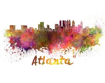 Atlanta skyline watercolor canvas, Atlanta Canvas Print, Atlanta wall art, Atlanta Canvas Wall Art, Atlanta Georgia, Atlanta watercolor