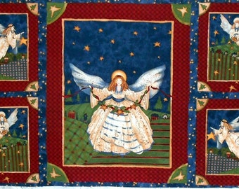 "Fabric -Angel Panel/country style/navy/red/cream/stars/trees/plaid/Christmas in Your Heart by Robin Betterley - approx. 23"" x 42"" (#1689)"