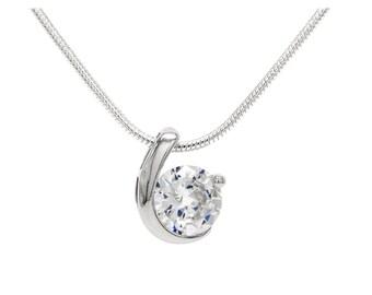 Sparkling clear gemstone, Genuine sterling silver hallmarked necklace, Hallmarked gem pendant, Real silver white gemstone necklace, Gift box