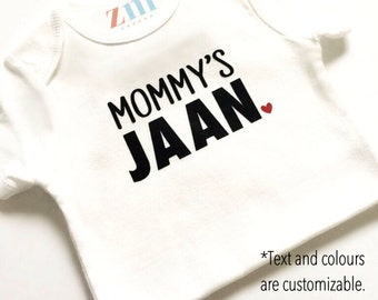 Mommy's Jaan bodysuit, Daddy's, Baba, Ammi, Nana, Nani, Dada, Dadi, heart, love, baby shower gift, take home outfit, baby boy girl, cute