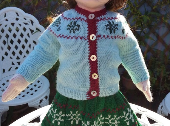 Cardigan with jacquard motivs for 18 inch dolls