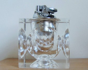 Vintage 1970's Clear Sculpted Ice Glass Cube Cigarette Lighter with Chrome Lighter fitting , Japan, Tobacciana Mid Century