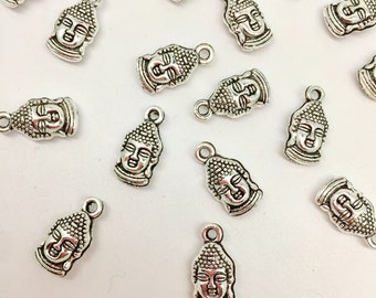8 Buddha Head Charms Antique Silver Tone 3D Double Sided Buddha Charms