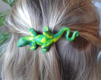 Green and yellow lizard gecko handmade hair clip-  lizard reptile handmade fimo earrings, polymer clay