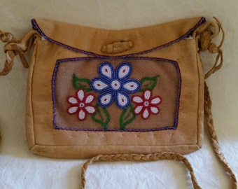 Native American Bead and Leather Bag