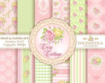 Shabby Chic Digital Paper, Digital Paper Shabby Chic, Shabby Chic Digital Pattern, Shabby Chic Digital Background, Pink Digital Paper, Roses