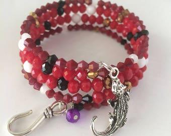 Captain Hook Bracelet, Captain Hook Charm Bracelet, Captain Hook Pirate Bracelet, Disney Bracelet, Disney Jewelry, Captain Hook