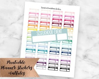 Sorority Sisterhood Event Printable Planner Stickers-Silhouette Cutlines-Erin Condren Planner Stickers-Sorority Planner Stickers