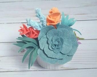 Spring felt succulent arrangement in a white ceramic ramekin, pastel succulents, spring decor, spring flowers