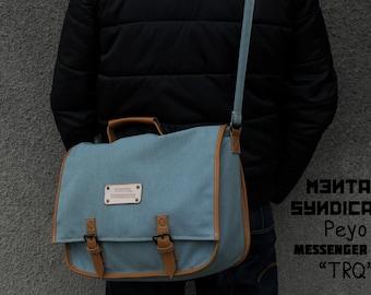 """SALE Peyo Canvas Messenger Bag """"TRQ"""""""