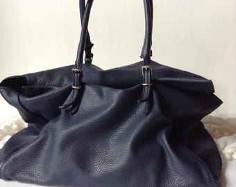 DIMONI / Large Navy Blue Genuine Pebbled Leather Purse / Shoulder Bag / Satchel / Made in Spain