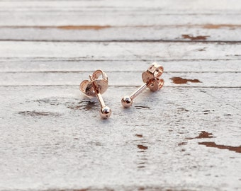 Stud Earrings | 1mm Stud Earrings, Nickel Free, Rose Gold Plated, Rose Gold Stud Earrings, Rose Gold Earring, Rose Gold Stud, Small Earrings