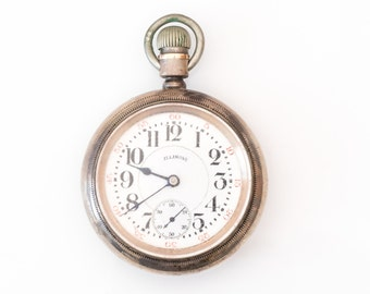 Antique Early 1900s Illinois Watch Co. Railroad Pocket Watch, VJ #904