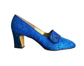 Benzelli 1960's Blue Satin Brocade Vintage  Ladies Pumps/ Heels - Size 8