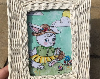 Springtime Bunny with Standing Frame (6x7.5) Mixed Media Art