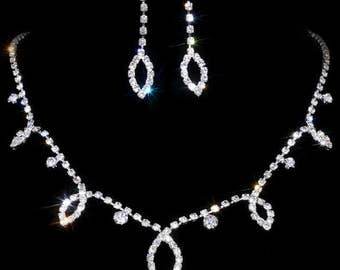 Chic Silver Wedding Engagement Rhinestone Necklace Earrings Set Jewelry