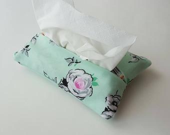 Pocket tissue holder, multiple options, stocking stuffer, Secret Santa, grab bag gift, tissue holder, retro print, fabric tissue holder