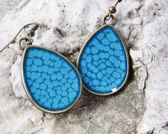 Blue teardrop earrings, pebeo earrings; bright blue earrings, antique brass teardrop dangles, abstract art earrings,wearable art