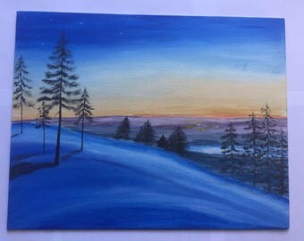 ORIGINAL Acrylic Painting - Winter Night - Landscape