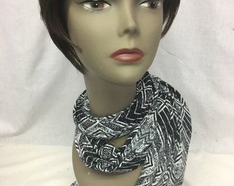 Black and white long and wide scarf