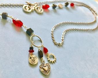 Yippee-kai-yay Bicycle Lariat Necklace / Bike Necklace, Bicycle Necklace, Bike Jewelry, Bicycle Jewelry