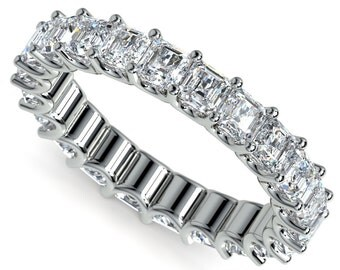 Asscher U-Prong Diamond Eternity Ring in Platinum